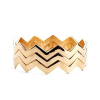 Zigzag Metallic Bangle Set: Charlotte Russe