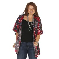 Women's By Together Grey Floral Print Kimono