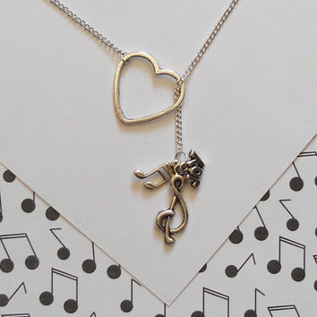 Music Necklace with Heart, Clef, Music Note and Joy Charm, handmade jewelry