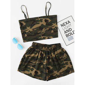 Camo Cami Top With Shorts ARMY GREEN