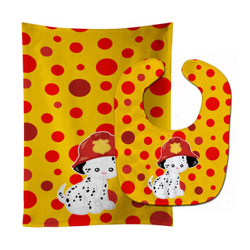 Fireman Dalmatian Puppy Baby Bib & Burp Cloth BB6999STBU