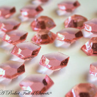 125 PINK Edible Sugar Gems Barley Sugar Hard Candy Cupcake Toppers Cake Decor Gifts 6.5 oz