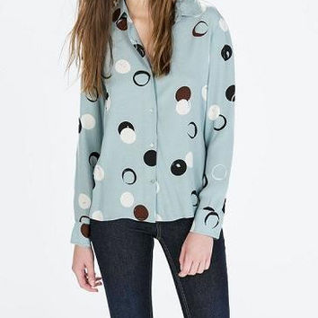 Blue Dot Print Long-Sleeve Collared Shirt