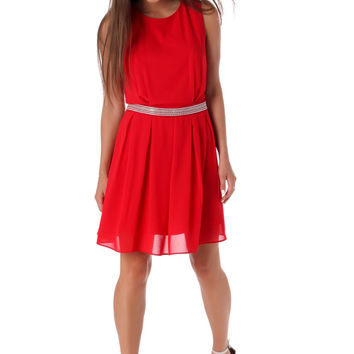 Red chiffon skater dress with embellished waist