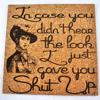 Shut up! Quirky Corkies Cork board, wall decor, for Home, Office, Dorm, Bedroom, Kids Room wall art