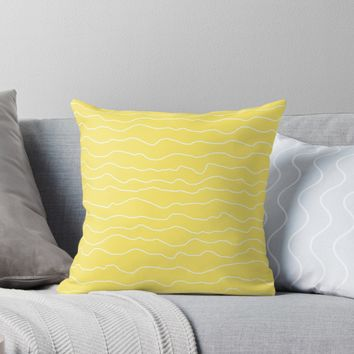 'Yellow with White Squiggley Lines' Throw Pillow by ShelleyYlstArt