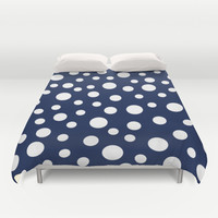 Crazy Dots: Navy Duvet Cover by Eileen Paulino