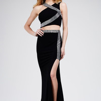 Jovani 28596  Jeweled Two Piece Jersey Prom Dress