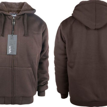 Men's Fleece Hoodie with Sherpa Lining - Coffee Case Pack 12