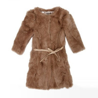 Buy Elegant Pure Color Half Sleeve Rabbit Fur Coat Deep Coffee (With Belt) with cheapest price|wholesale-dress.net