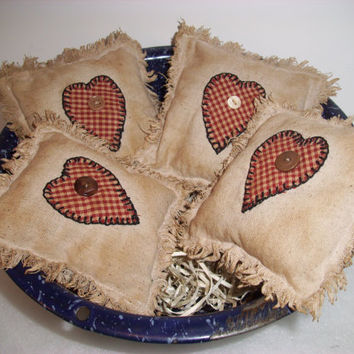 PRIMITIVE RUSTIC COUNTRY Heart Scented Bowl Fillers or Shelf Pillows