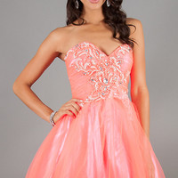 Short Strapless Tulle Babydoll Coral Dress