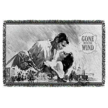GONE WITH THE WIND/BW POSTER-WOVEN THROW-WHITE-48x80