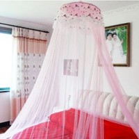 Housweety New Round Lace Curtain Dome Bed Canopy Netting Princess Mosquito Net Pink:Amazon:Home & Kitchen