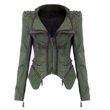 Studded Zipper Punk Stylish Women Denim Jackets