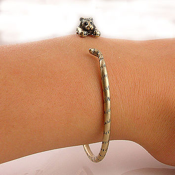 Animal Wrap Bracelet - Tiger - Bronze