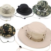 Colorful Outdoor Hiking Fishing Hats Boonie Snap Brim Bucket Hat Sunbonnet