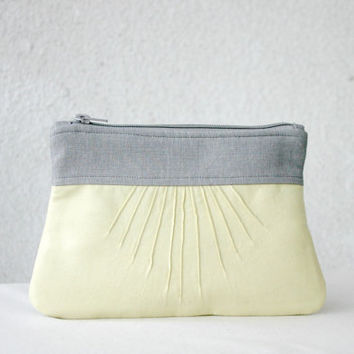 Pleated Clutch purse Yellow Grey Linen Bridesmaids