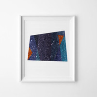Navy Abstract Art Print 3