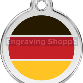 German Flag Enamel and Stainless Steel Personalized Custom Pet Tag with LIFETIME GUARANTEE ID Tag Dog Tags and Cat Tags Free Engraving