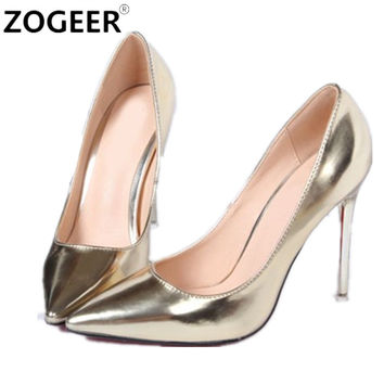 Hot 2017 Spring Autumn Women Pumps Sexy Gold Silver High Heels Shoes Fashion Pointed Toe Wedding Shoes Party Women Shoes