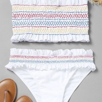 Colorful Zigzag Smocked Bikini Set