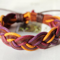 Summer Christmas gift Fashion Cotton rope Wrap and Multilayer Weaved Leather Wrap Bracelet W-20