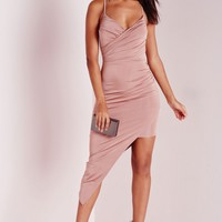 Missguided - Slinky Asymmetric Hem Midi Dress Rose Pink