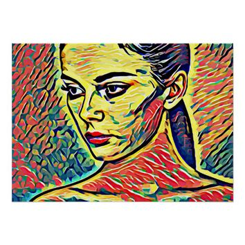 Abstract Womans Face pop art yellow red green Poster