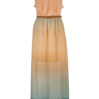 Ruffle Top Chevron Stripe Ombre Maxi Dress - Mango