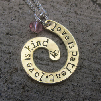 Love is Patient - hand stamped spiral necklace  -Made to Order-