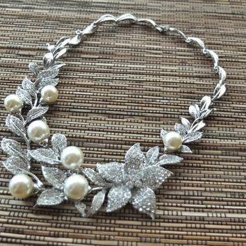 Pearl and Rhinestone Necklace, Floral and Leaf Necklace