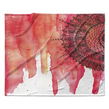 "Li Zamperini ""Red Mandala"" Red Black Fleece Throw Blanket"
