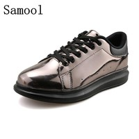 2017 High Quality Patent Leather Creepers Men Casual Shoes Casual Loafers Gold Brown Blue Flats Lace-Up Men Casual Shoes