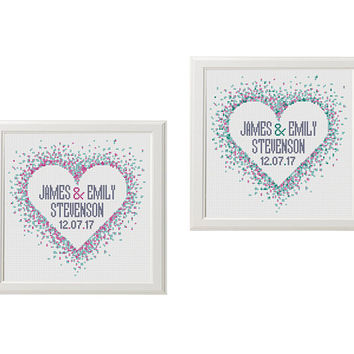 modern Cross stitch Wedding pattern watercolor heart Cross stitch pattern Personalized DIY gift customizable pattern Instant download PDF