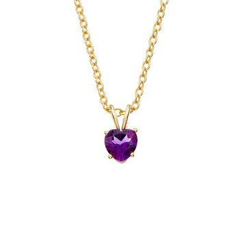 6mm Amethyst Heart Cable Chain Necklace in 14k Yellow Gold, 18 Inch
