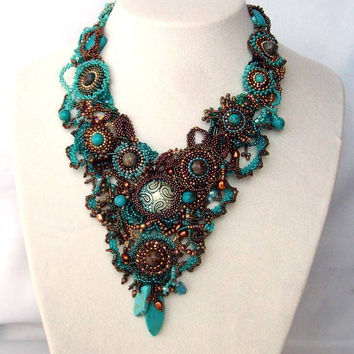 Beadwork necklace, Seed beaded jewelry, beaded art necklace,Turquoise brown