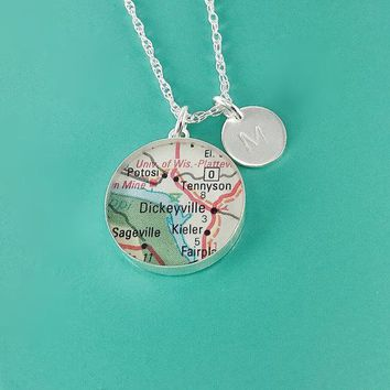 "Grand Journey Vintage Map Sterling Silver 20"" Necklace. You Select Journey + Hand Stamped Letter"
