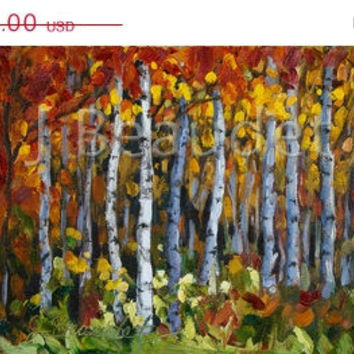 ON SALE Print of Original Oil Painting Autumn Trees Impressionist LANDSCAPE Birch Fall Colors Autumn foliage