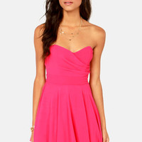 TFNC Minnie Strapless Hot Pink Dress