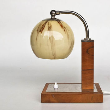 Mid Century Table Lamp / Bedside Lamp / Art Deco Era Lighting / Wood, Chrome & Glass