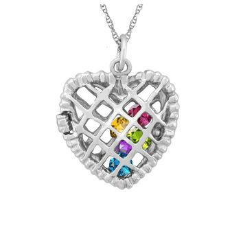 Sterling Silver Filigree Birthstone Heart Locket
