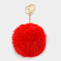 Large Rabbit Fur Pom Pom Keychain, Key Ring Bag Pendant Accessory - Red