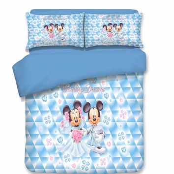 Married Mickey and Minnie Mouse Bedding Set Cartoon Bedspread Single Twin Full Queen King Size Bedclothes Children's Kid Bedroom