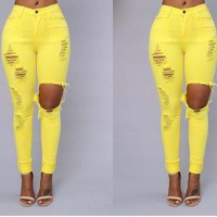 Womens Cool Rip Stylish High Waist Jeans