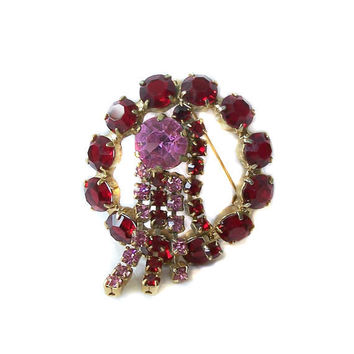 Vintage Red and Pink Rhinestone Circle Pin