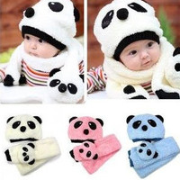 100% wool hat+scarf two piece set Panda cap *free shipping*