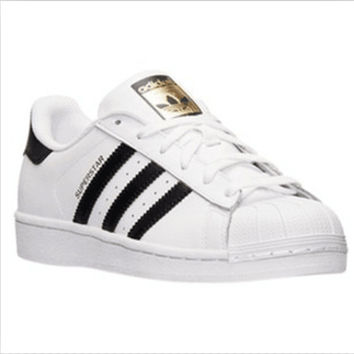 """Adidas"" Fashion Shell-toe Flats Sneakers Sport Shoes White black golden"