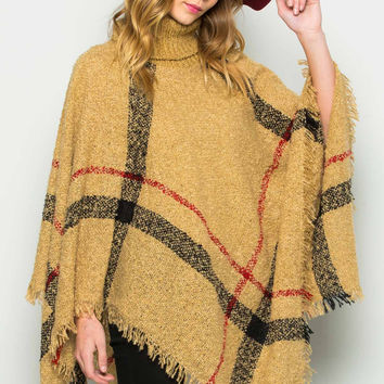 Beige Cowl Neck Plaid Poncho Pullover Sweater