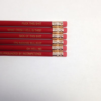 office woes Pencil set of 6 in red MATURE, not suitable for children or sensitive adults.